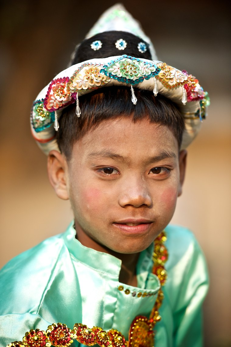 Burma Myanmar Bagan portrait boy in green