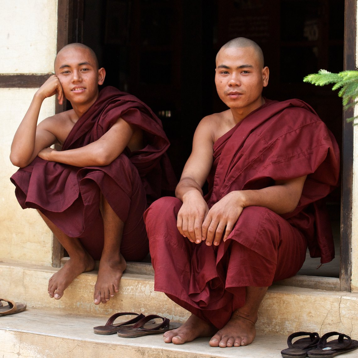Burma Myanmar Bagan two young monks