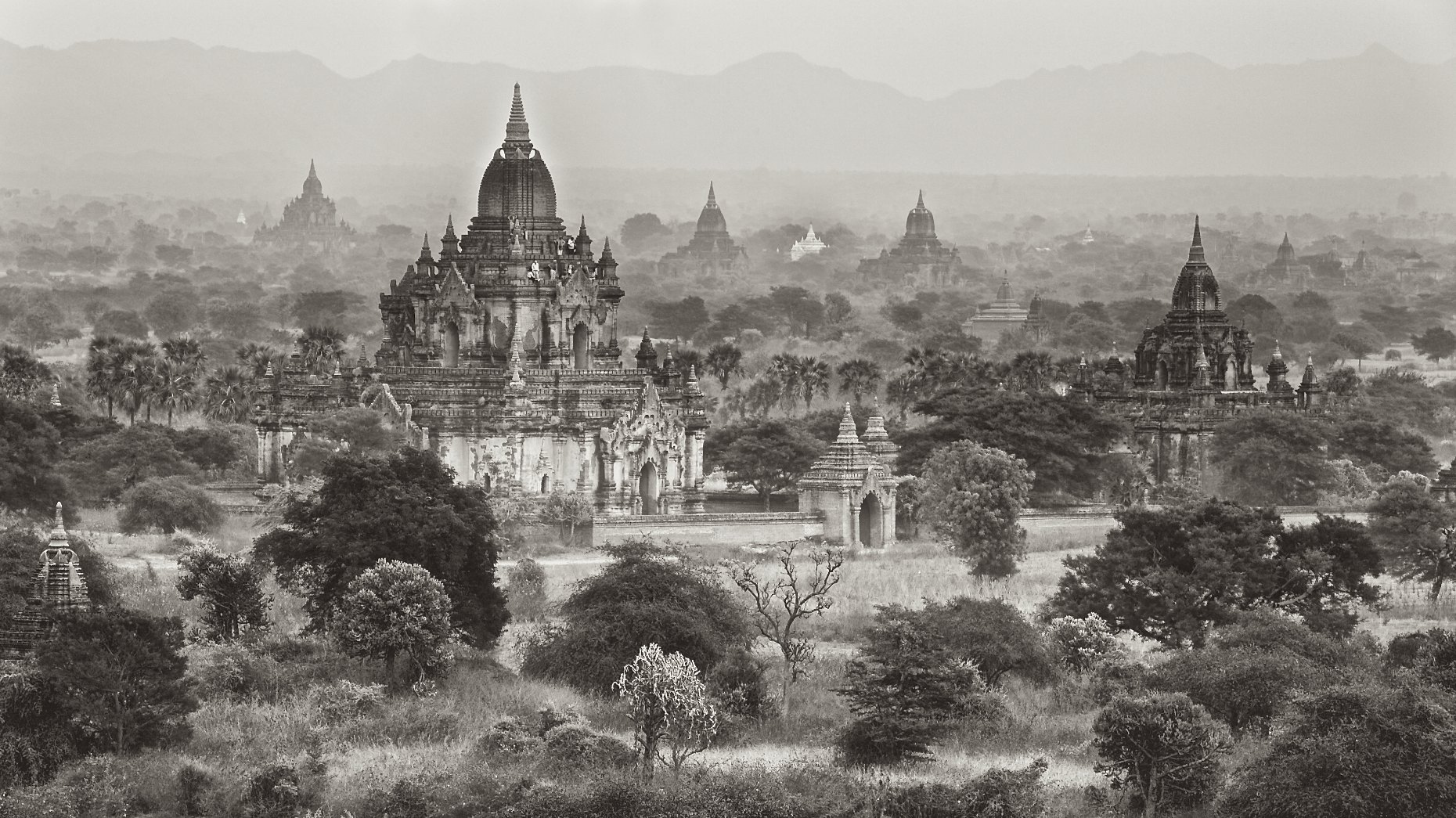Burma Bagan landscape black and white