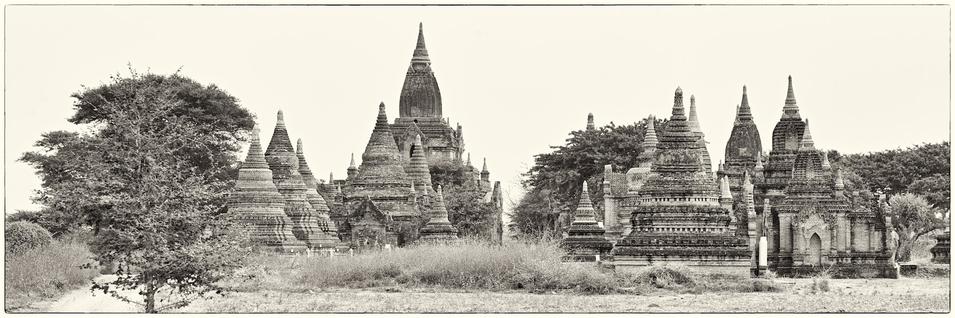 Burma Bagan landscape panorama black and white
