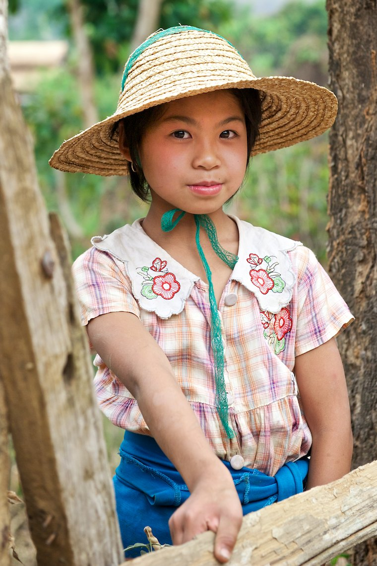 Burma Myanmar Hsipaw  young country girl with hat