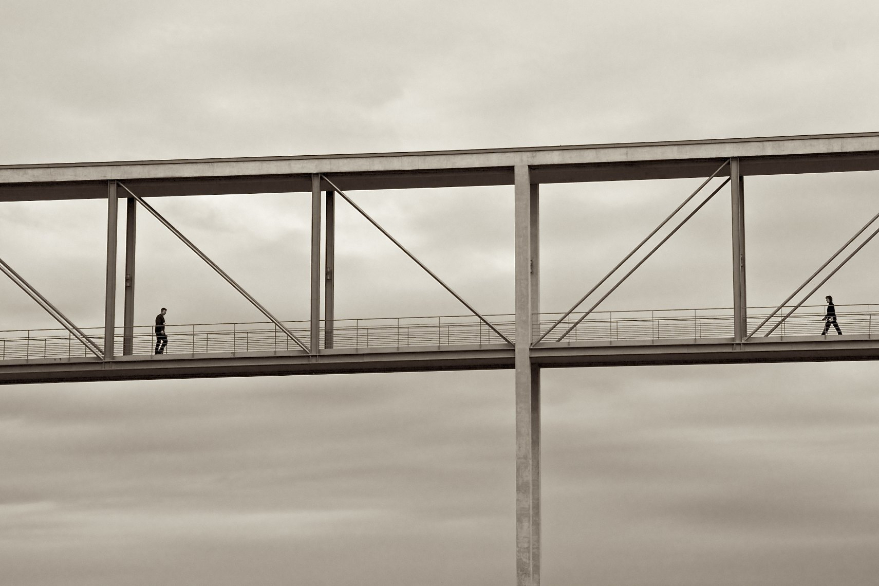 Berlin bridge pedestrians