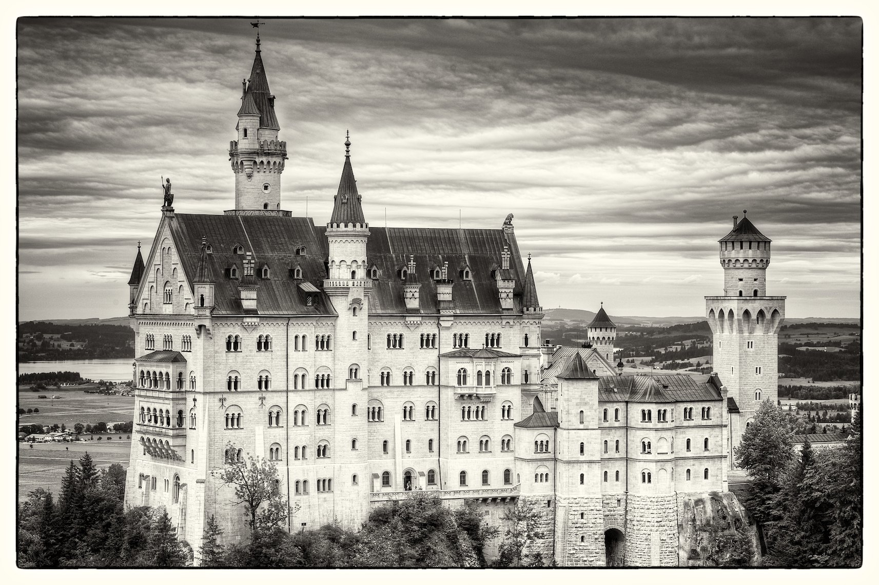 Germany Bavaria Schloss Neuschwanstein HDR black and white