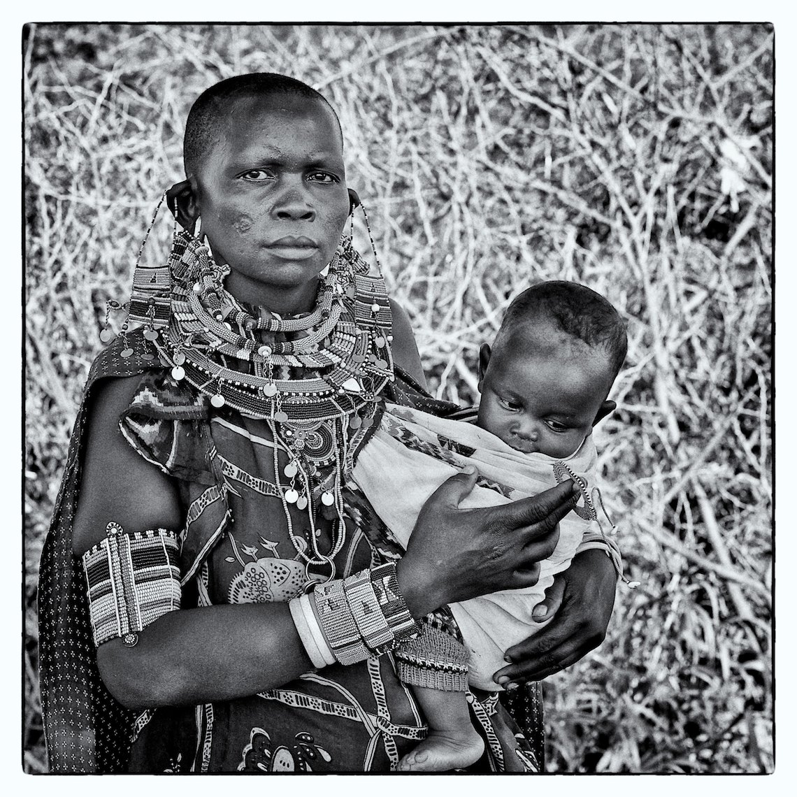 Kenya Amboseli Massai portrait mother and child