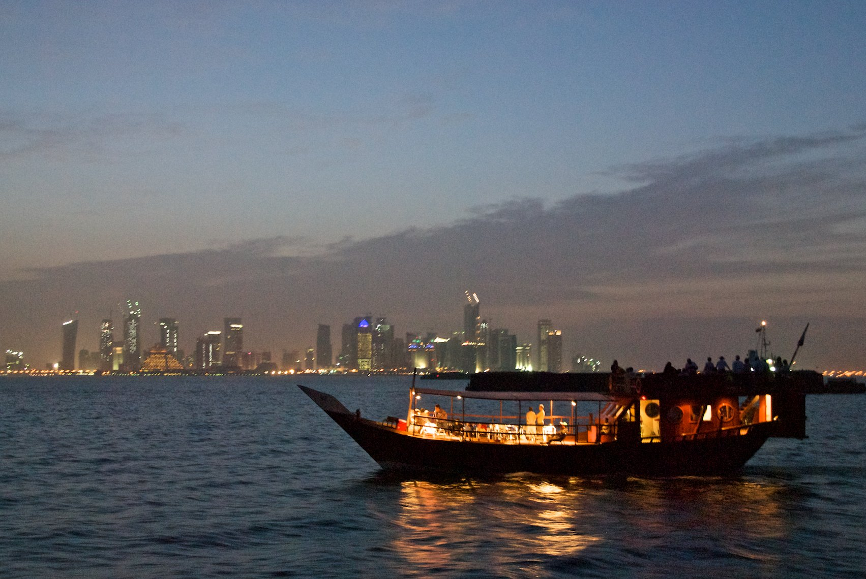 Qatar Dhow West Bay at night