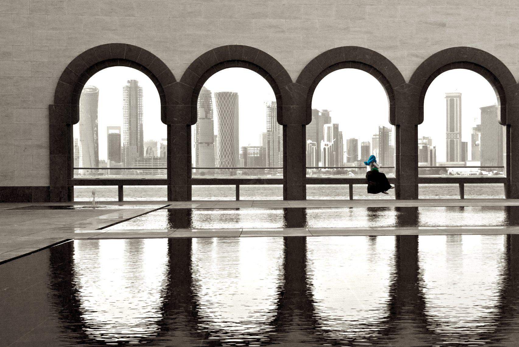Qatar Doha Museum of Islamic Art courtyard  black and white
