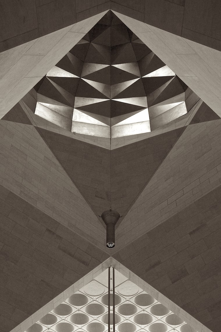 Qatar Doha Museum of Islamic Art interior black and white Dome Geometry