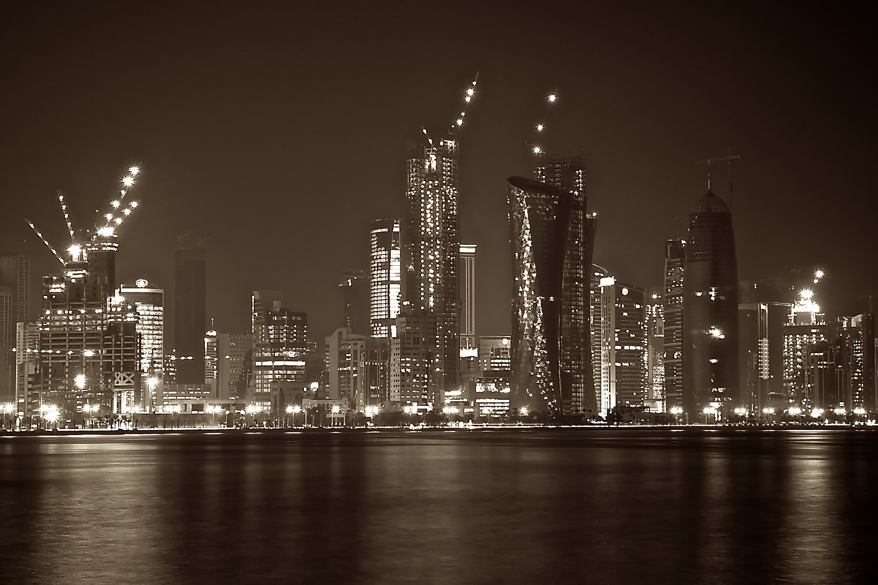 Qatar West Bay architecture at night