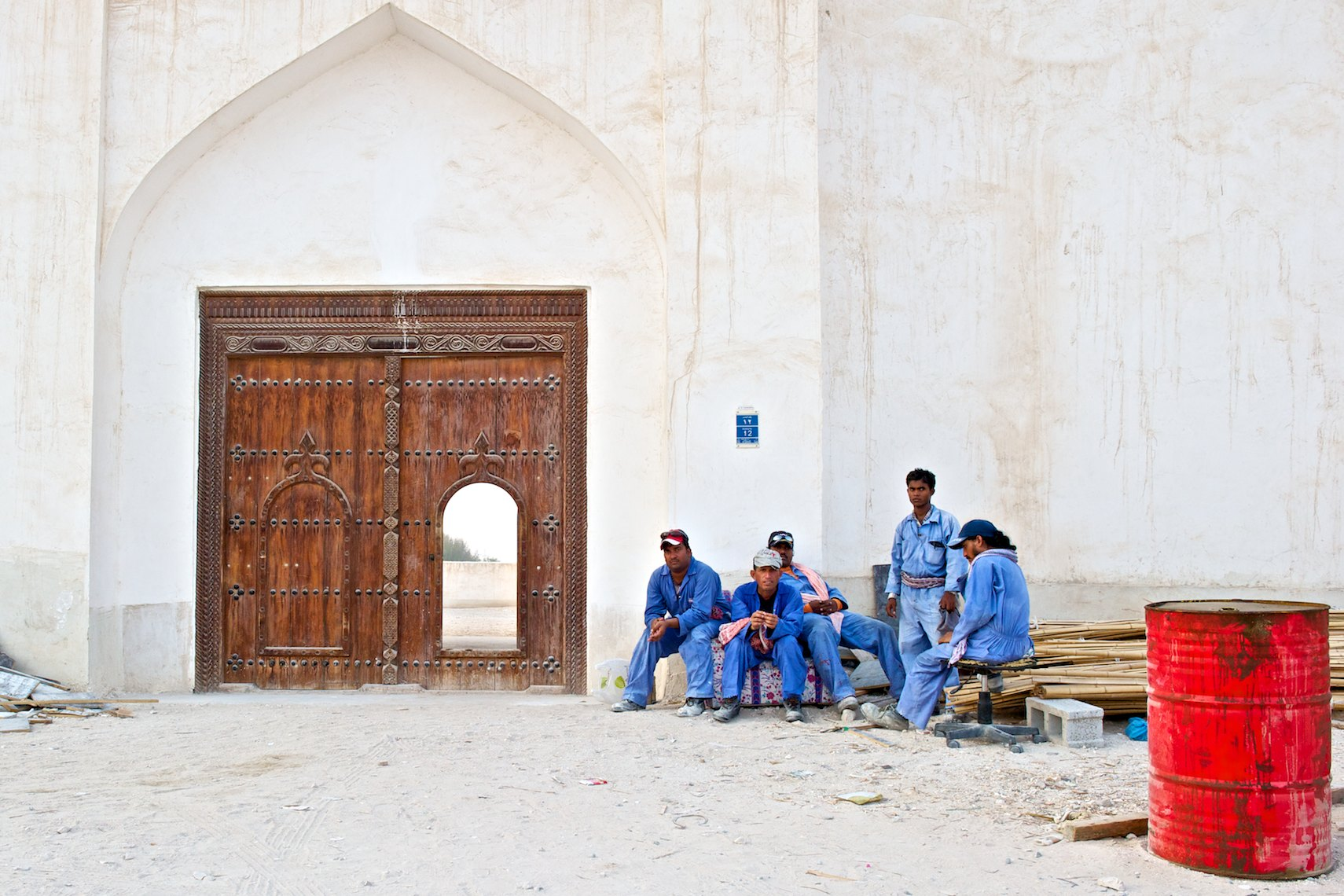 Qatar workers renovating city palace