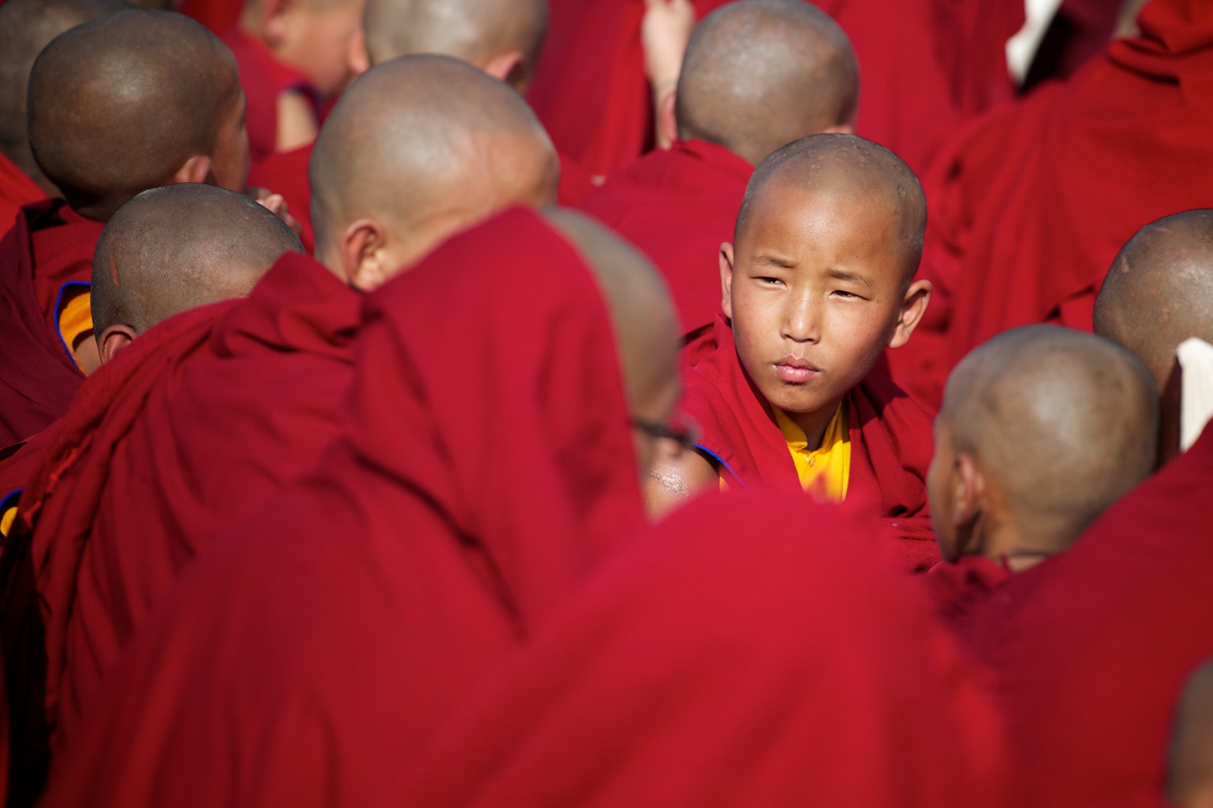Nepal, Kathmandu, young monks in red