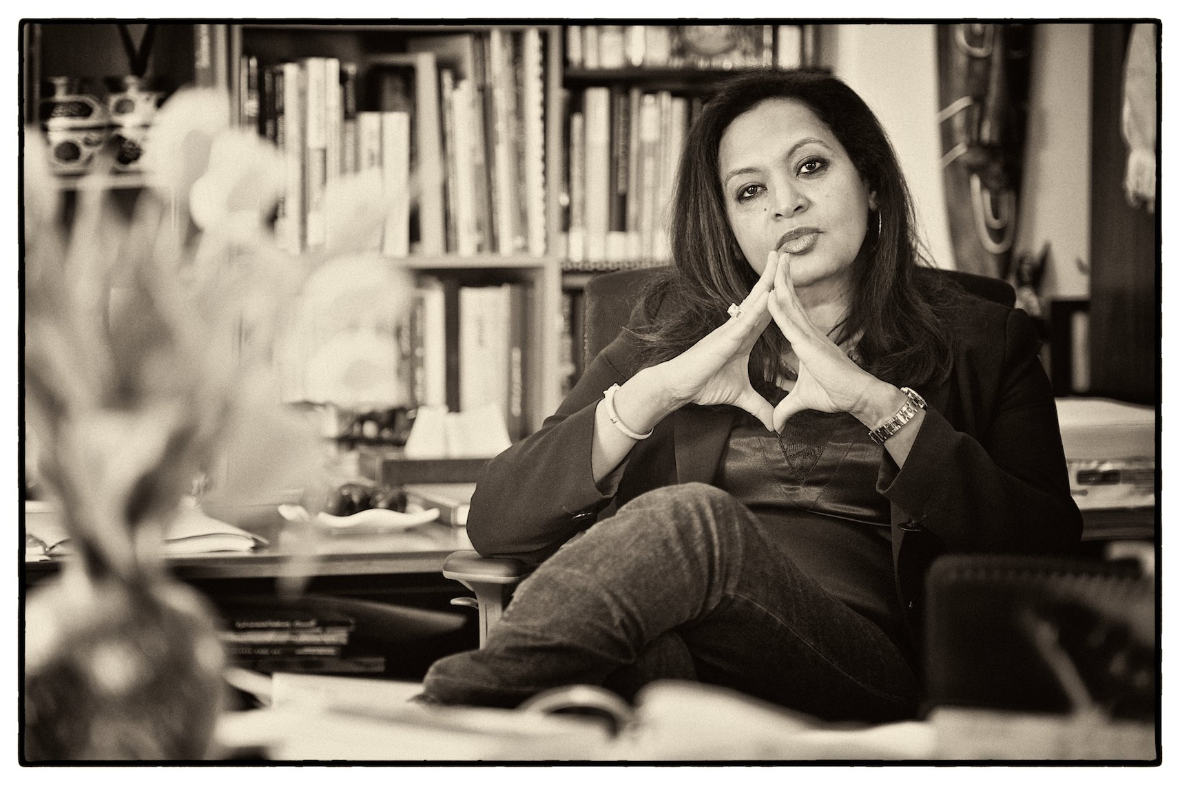 Professor Rogaia Abusharaf, sitting