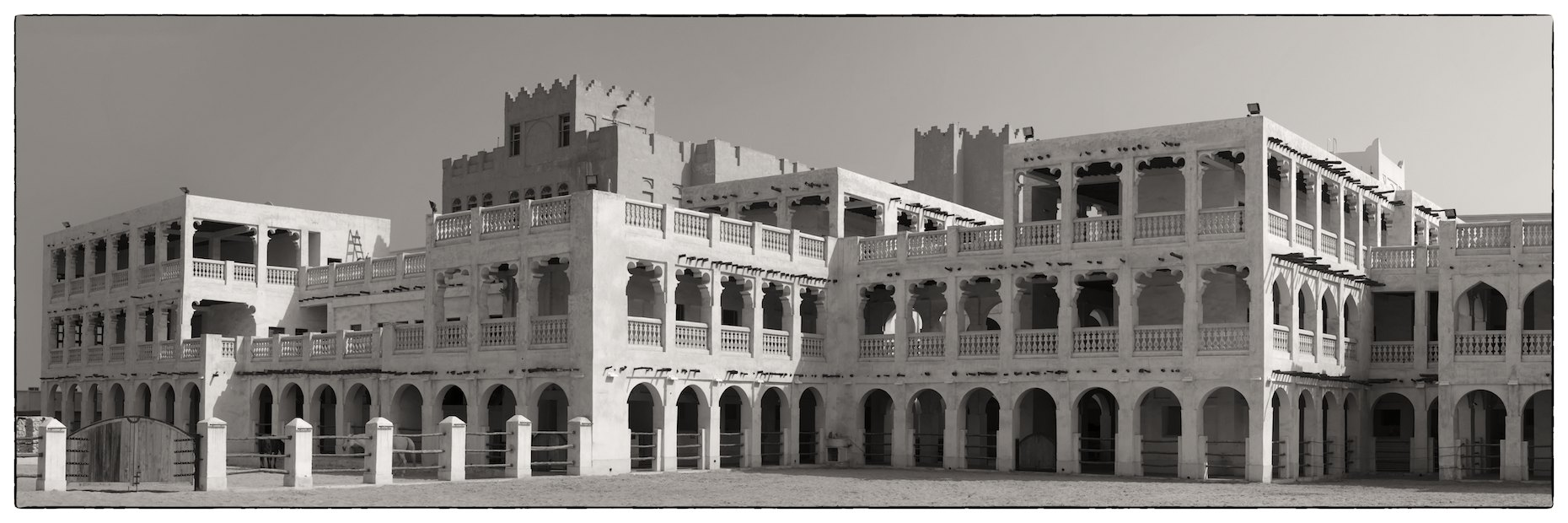 Souq Waqif, horse stables, panorama